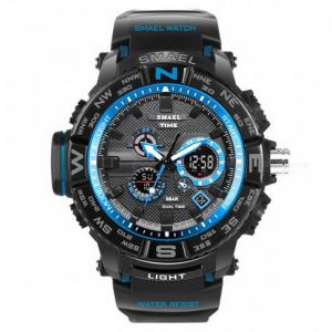 Men Sport Watches SMAEL Brand Dual Display Watch Men LED Digital Analog Electronic Quartz Watches 30M Waterproof Male Cl