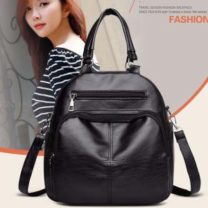 27 X 27 X 15cm Womens PU Backpack Convertible Solid Leather Shoulder Bag