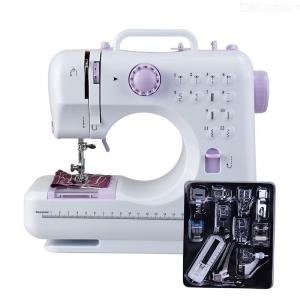 Mini 12 Stitches Sewing Machine Household Multifunctional Speed Free-Arm Crafting Mending Machines - White + Purple