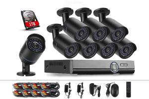 COTIER A8B5/Kit 2MP 8CH 1080P CCTV Security Camera System AHD DVR Surveillance Kit - Black