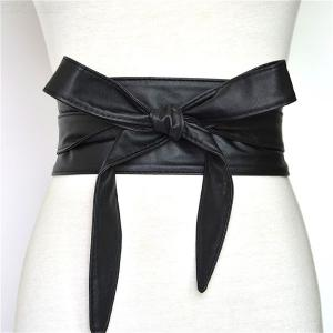 Womens Bowknot Belt Classic PU Waist Girdle With Bow