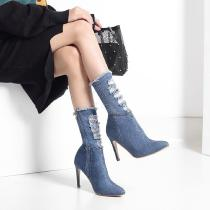 Stretchy-Demin-Boots-Classic-Short-Boots-With-Thin-Heels