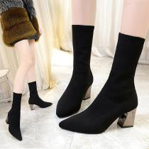 Womens-Pointed-Toe-Short-Boots-With-High-Chunky-Heels
