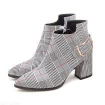 Classic-PU-Plaid-Boots-Pointed-Toe-Wide-Chunky-Heel-Shoes-With-Side-Zipper-Closure
