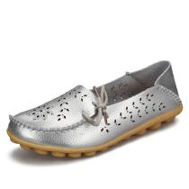 Womens-Genuine-Leather-Flat-Slip-On-Shallow-Hollow-Out-Loafers