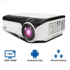 HD Projector Android 6.0 Home Theater With 50 - 150 Projection Size Supports 1920 X 1080P 4K Video