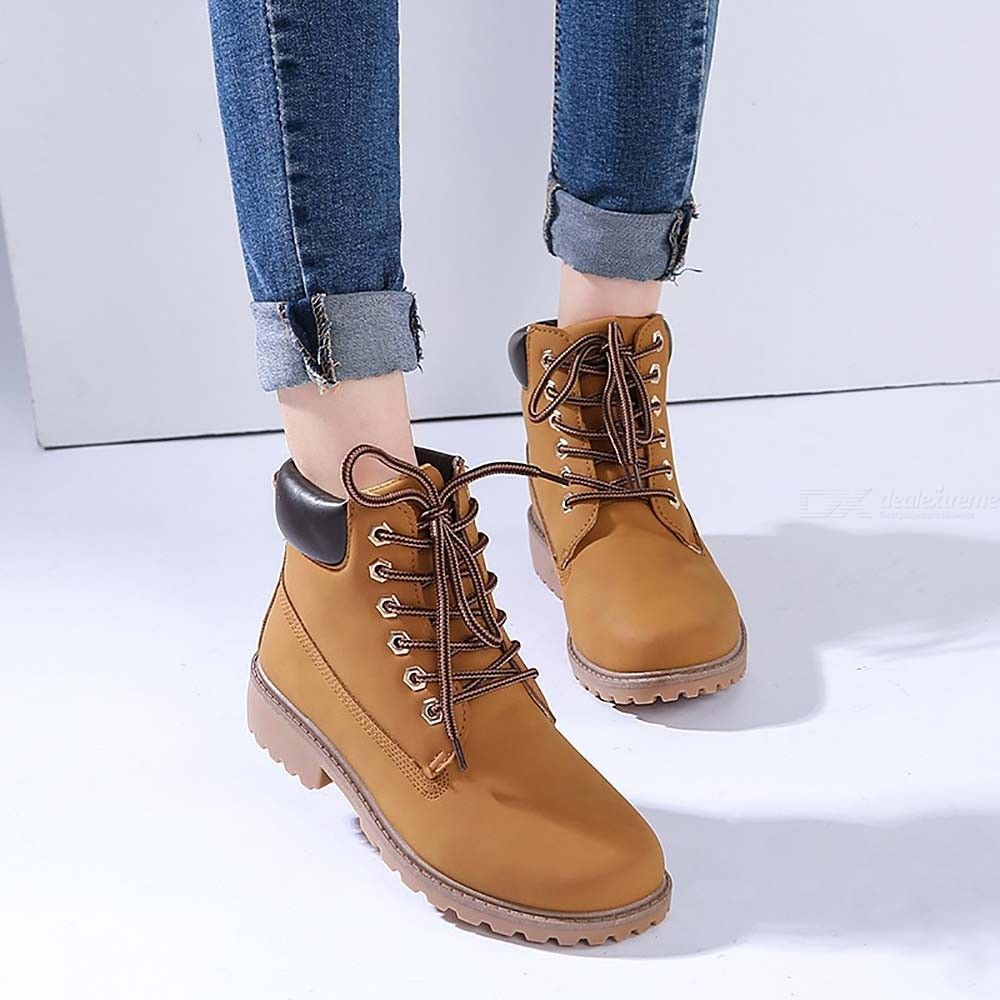 PU Leather Ankle Boots Lace Up Work Shoes Waterproof Snow Boot For Women