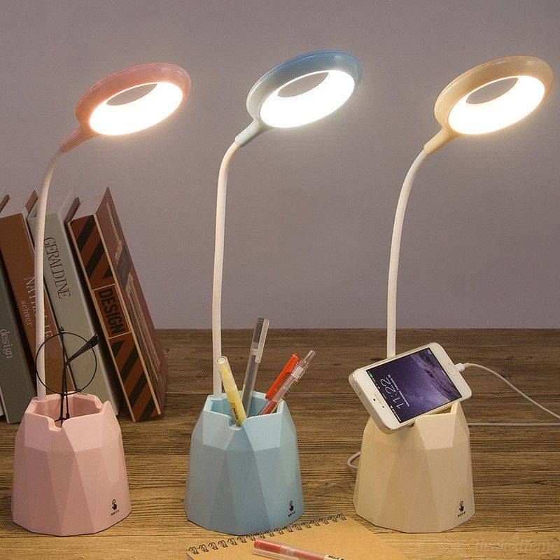 Creative LED Reading Lamp With 3 Brightness Levels Charging Mode Phone Holder USB Rechargeable 4200K-4600K