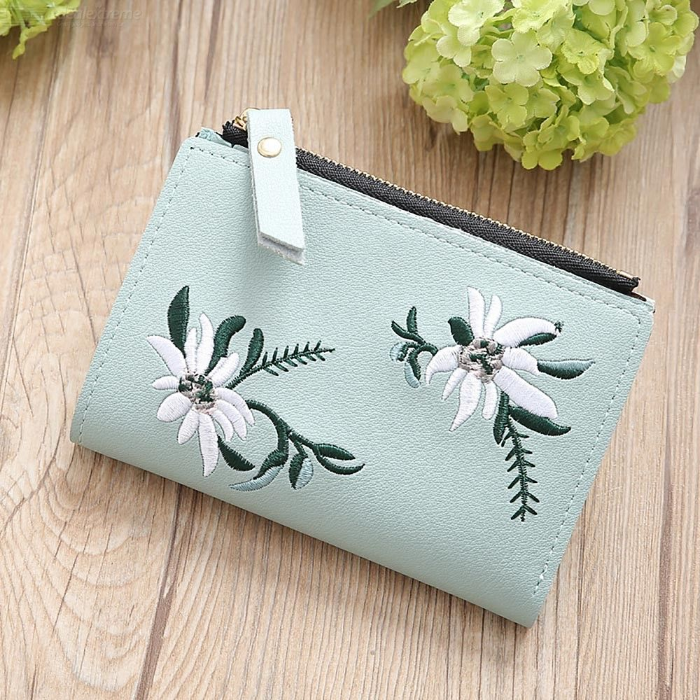 Womens PU Coin Purse Floral Embroidered Change Wallet With Zipper