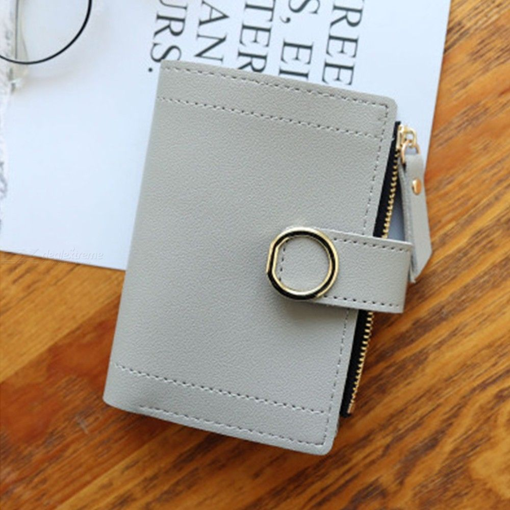Womens Bifold Pocket Wallet Mini Purse With Zip Coin Pocket