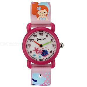 Kids Cartoon Watch Cute Waterproof Wristwatch With 3D Mermaid Silicone Band