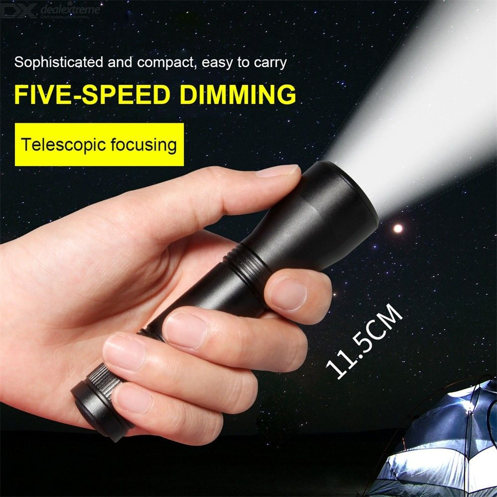 Mini Pocket Flashlight Retractable LED Torch Light With 5 Light Modes Zoomable IPX 5