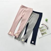 Girls-Basic-Leggings-Solid-Ribbed-Cotton-Capris-With-Marguerite-Embroidery-3-Pack