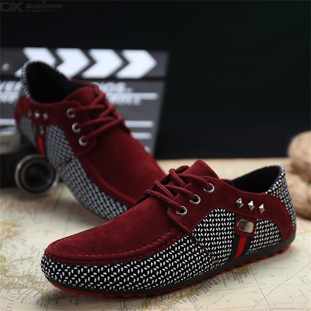Mens Casual Leather Loafers Breathable Lace Up Shoes