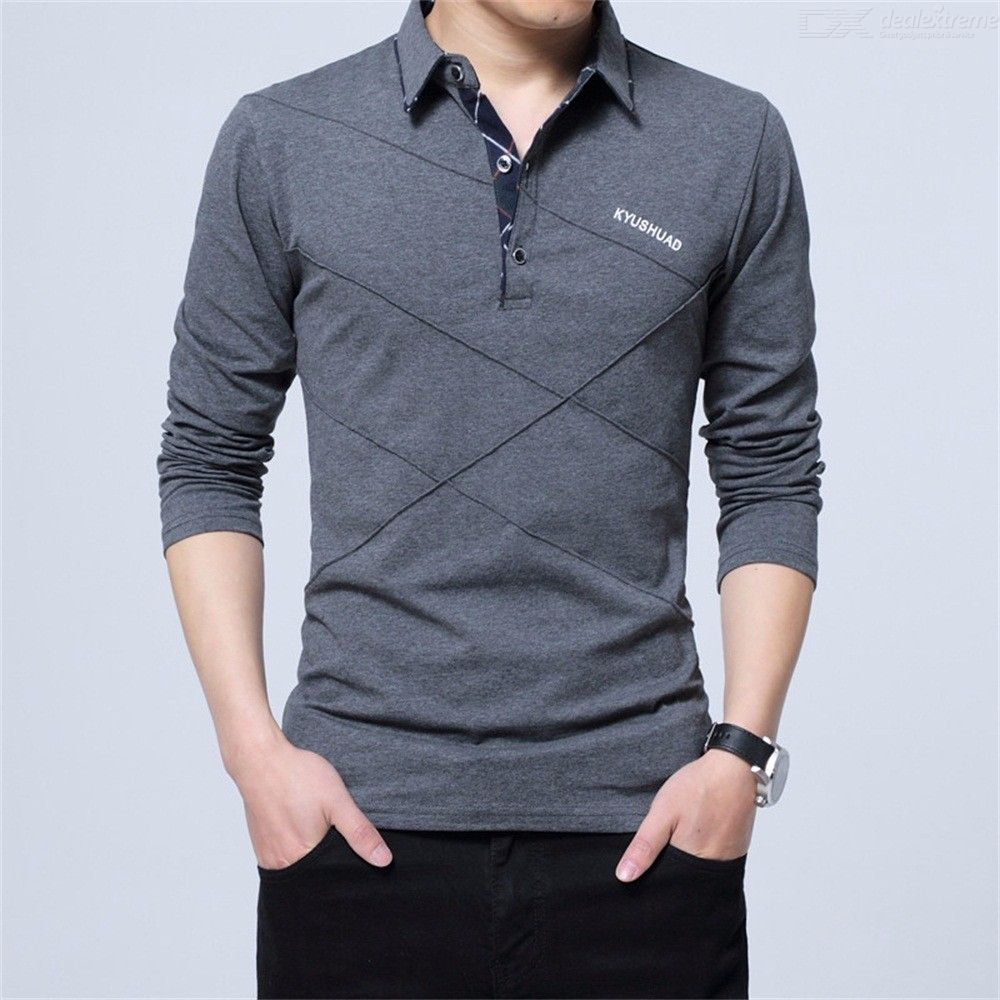 Mens Slim Fit Polo Solid Long Sleeve Cotton Polo Shirt