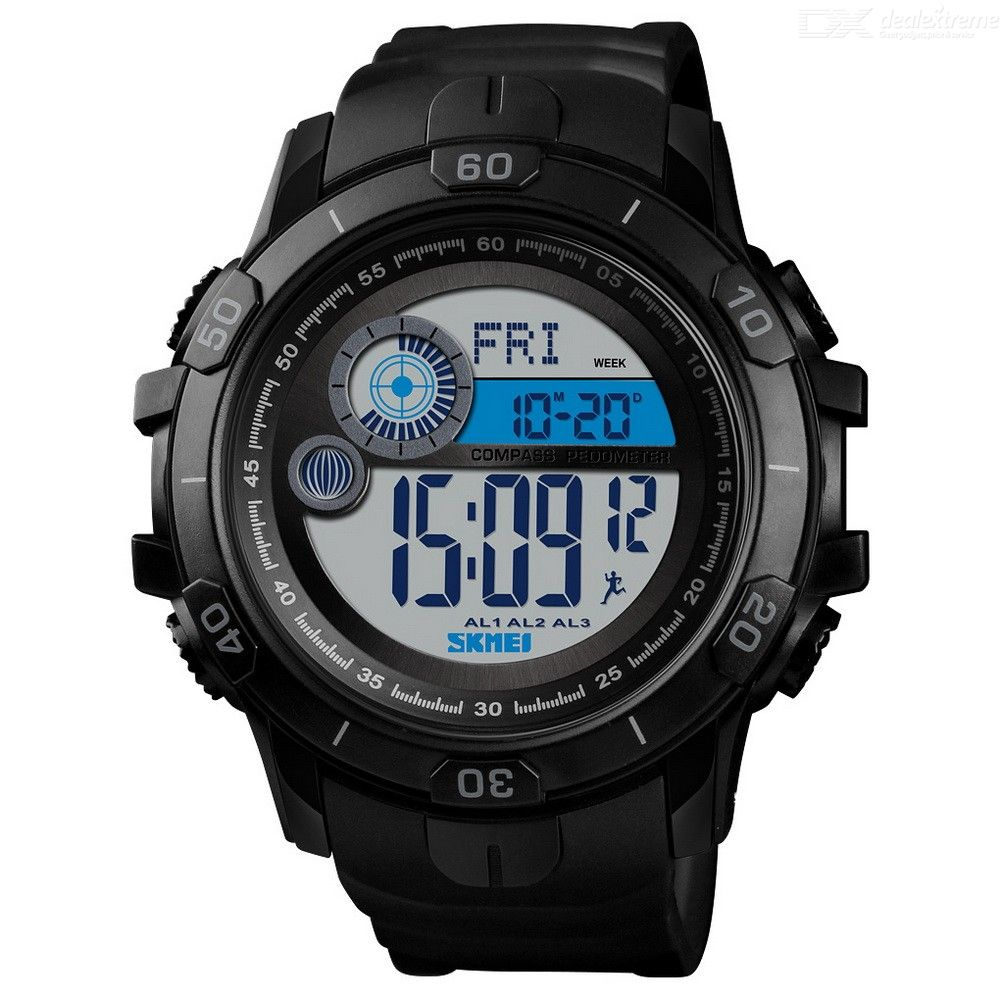 SKMEI Mens Digital Sports Watch Waterproof Outdoor Military Wristwatch With LED Backlight Calories Mileage Calculators