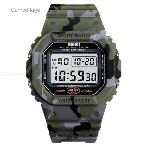 SKMEI Mens Digital Sports Watch Waterproof Tactical Wristwatch With LED Backlight