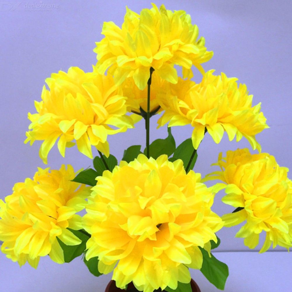 7 Artificial Chrysanthemum Mum Ball Bush For Tomb-sweeping Day And Memorial Day