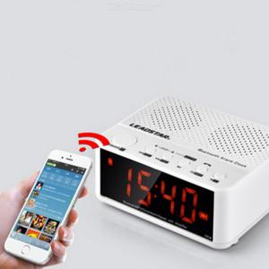 Portable Wireless Bluetooth Speaker Digital Alarm Clock USB Charger for Bedroom