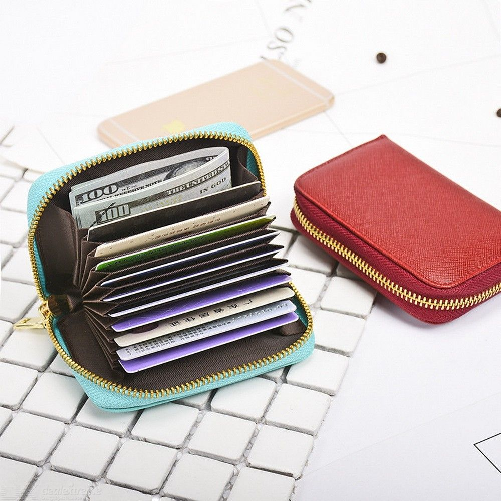 Cards Cash Blocking Wallet Zipper Leather Card Bag Small Coin Purse For Women