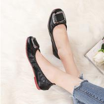 Womens-Faux-Leather-Flats-Solid-PU-Slip-On-Shoes-With-Square-Buckle-Details