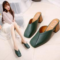 Womens-Faux-Leather-Slippers-Solid-Chunky-Heeled-Shoes