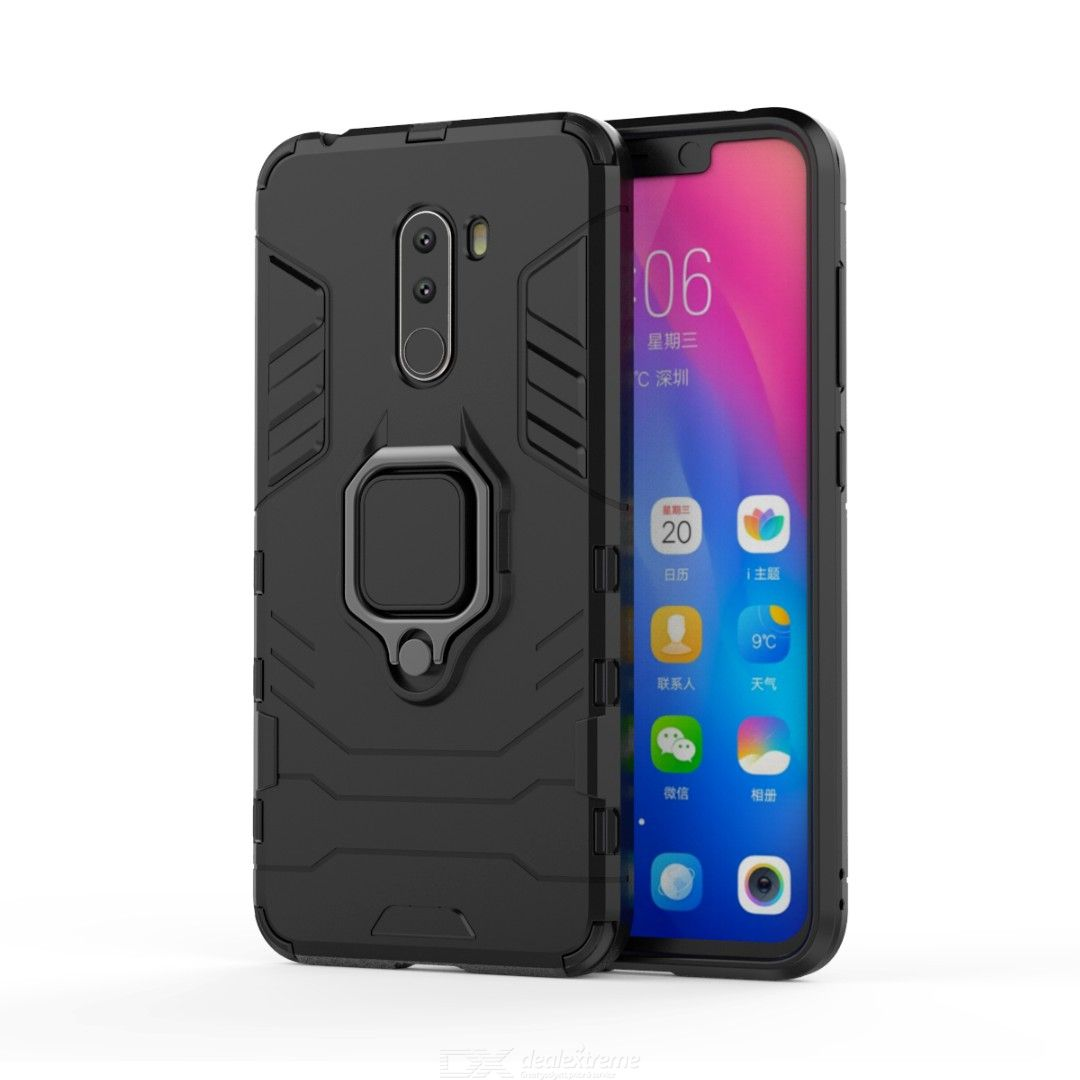 Mr.northjoe Ring Buckle Armor Phone Case with Stand Function for Xiaomi Pocophone F1