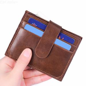 Men's Small Card And ID Holders Of Driver's License Ultra-thin Whole Frosted Leather Coin Wallet