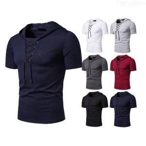 Lace-up Hooded Cotton T-Shirt Loose Short Sleeve Tees Casual Tops For Men