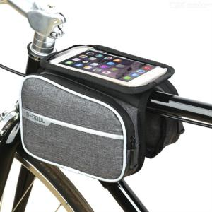 B-SOUL Bike Frame Waterproof Bag, Bicycle Front Tube Pouch Basket with Touch Screen Phone Case for Cellphone 4.8-6.2 Inch
