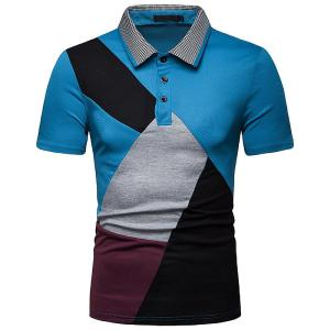 Short Sleeve Polo Shirt Color Block Patchwork Lapel Shirts Casual Tops For Men