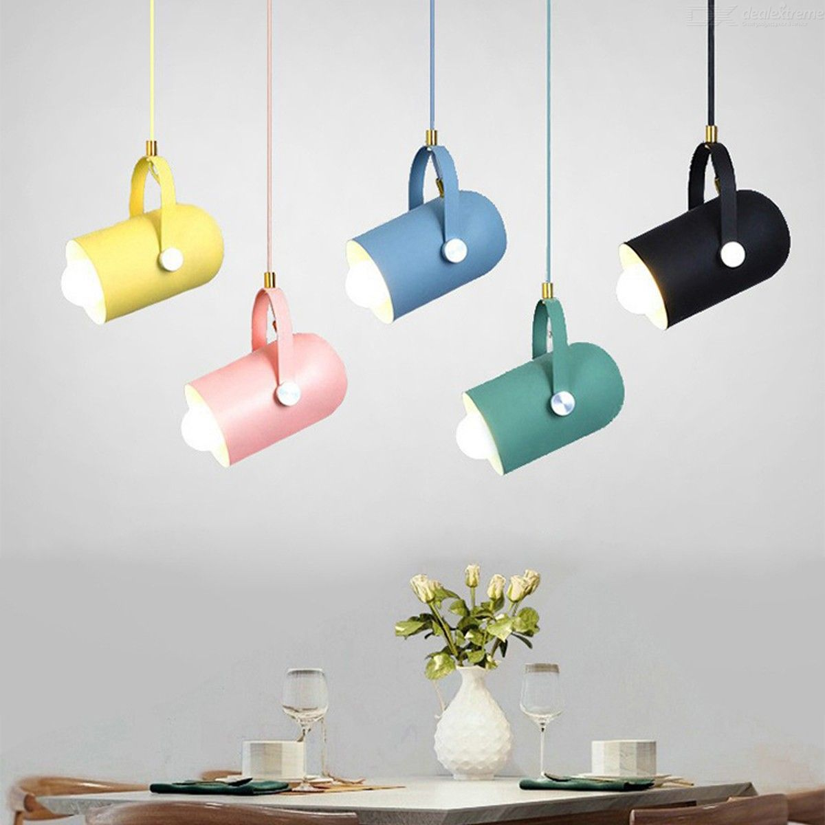 E27 Macaron Modern Simple Chandelier Creative Personality LED Pendant Lamp for Restaurant Home Decoration