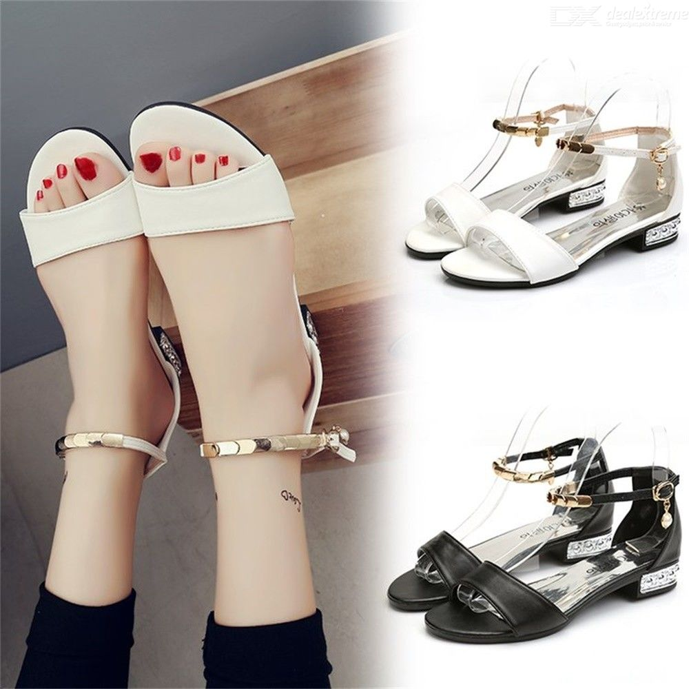 Open Toe PU Sandals Casual Buckle Flat Shoes For Women