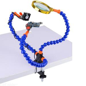Helping Hands Soldering Tool 3 Flexible Arm Alligator Clip Magnifying USB DC Fan PCB Board Holder For CB Welding Repair Station