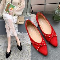Pointed-Toe-Flats-Low-Heel-Dress-Shoes-With-Rivet-For-Women