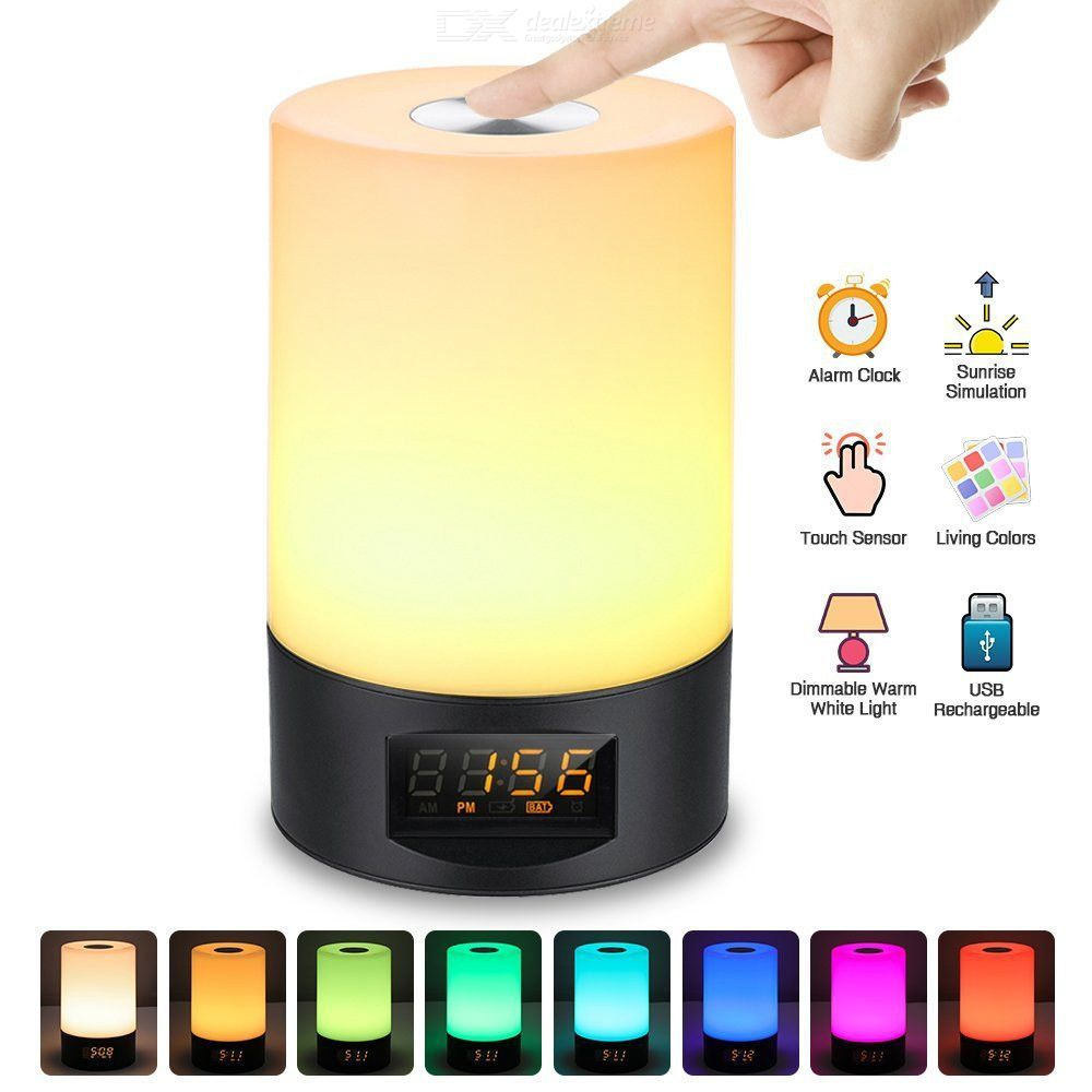 Intelligent Wake-Up Lamp Touch Mode Switch Clock Alarm LED Bedside Lamp USB Charging Color Atmosphere Night Lamp DC 5V