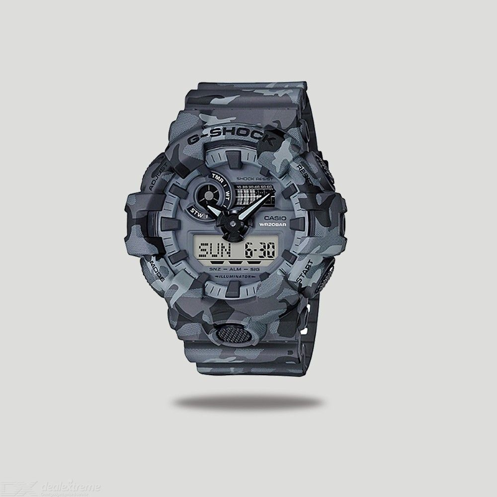 Casio G-Shock GA-700CM-8A Digital Watch With Resin Band For Men - Camouflage Grey
