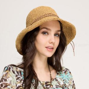 Womens Raffia Straw Hat Classic Sunblock Braided Cap For Summer Ride Beach Vacation