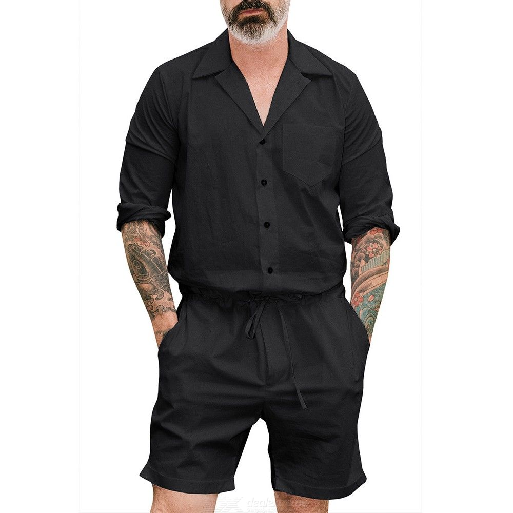Mens One Piece Jumpsuit Buttoned Long Sleeve Rompers With Drawstring