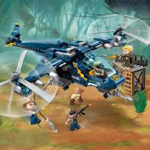 402PCS-Educational-Building-Blocks-City-Police-Series-Osprey-Action-Helicopter-Toys-For-Children-Blue