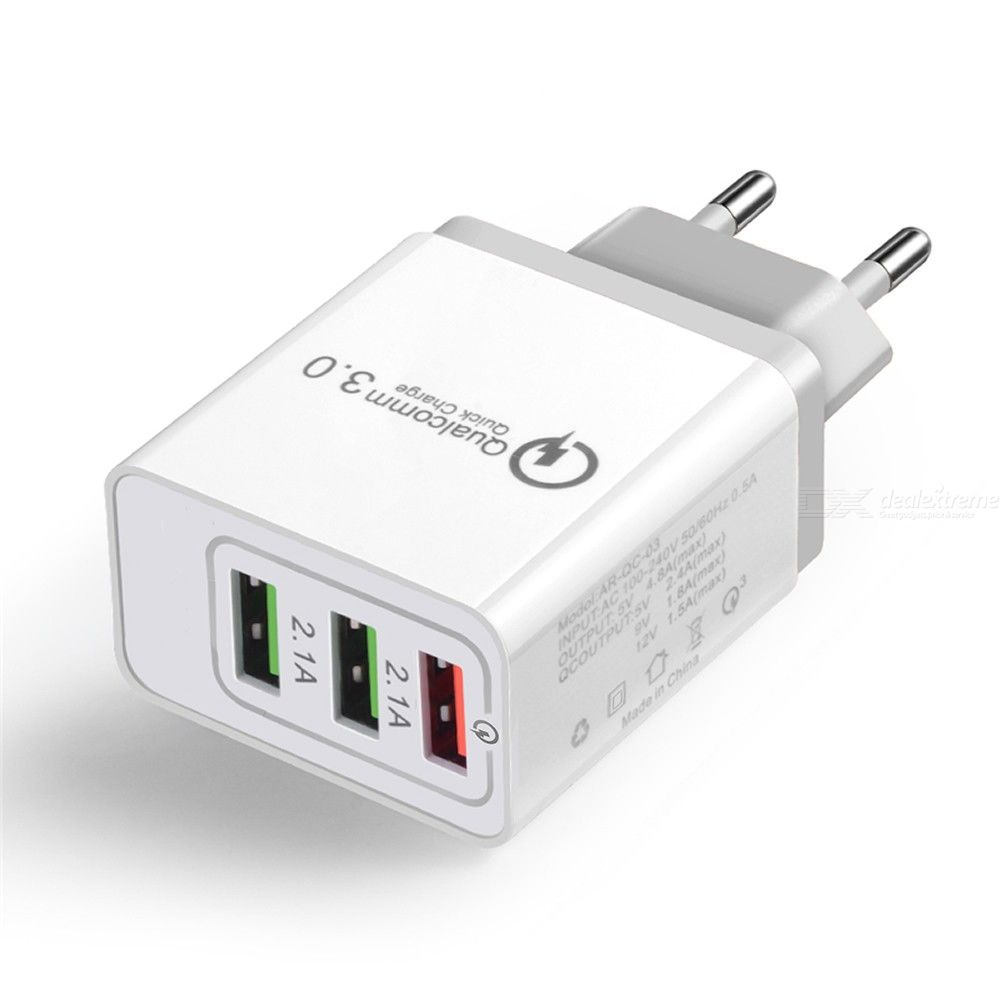 Quick Charge 3.0 Mobile Phone Charger 3-Port USB EU Plug Fast Charging for iPhone/Xiaomi/Huawei/Vivo/Samsung