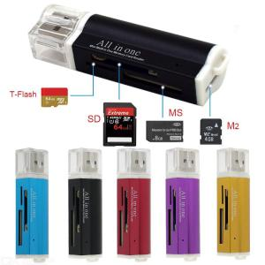 Quelima Metal Multi-function High-speed Card Reader SD TF MS M2 Multi-card Reader