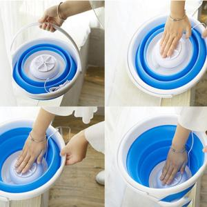 2-in-1 Ultrasonic Laundry Washer And Pail Collapsible Mini Clothes Washing Machine
