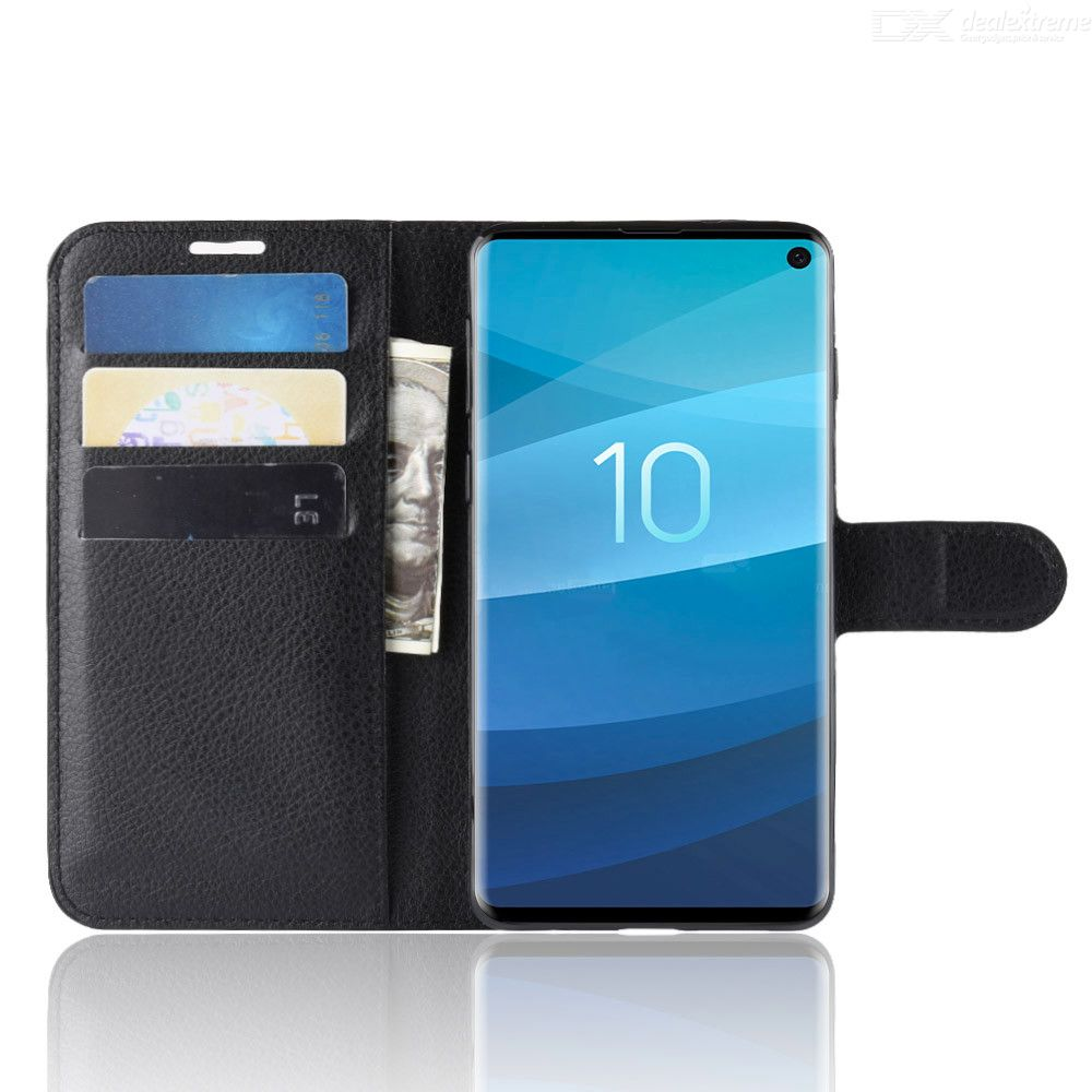 Naxtop Lychee Phone Wallet Flip Cover Holder Case Protective for Samsung Galaxy S10