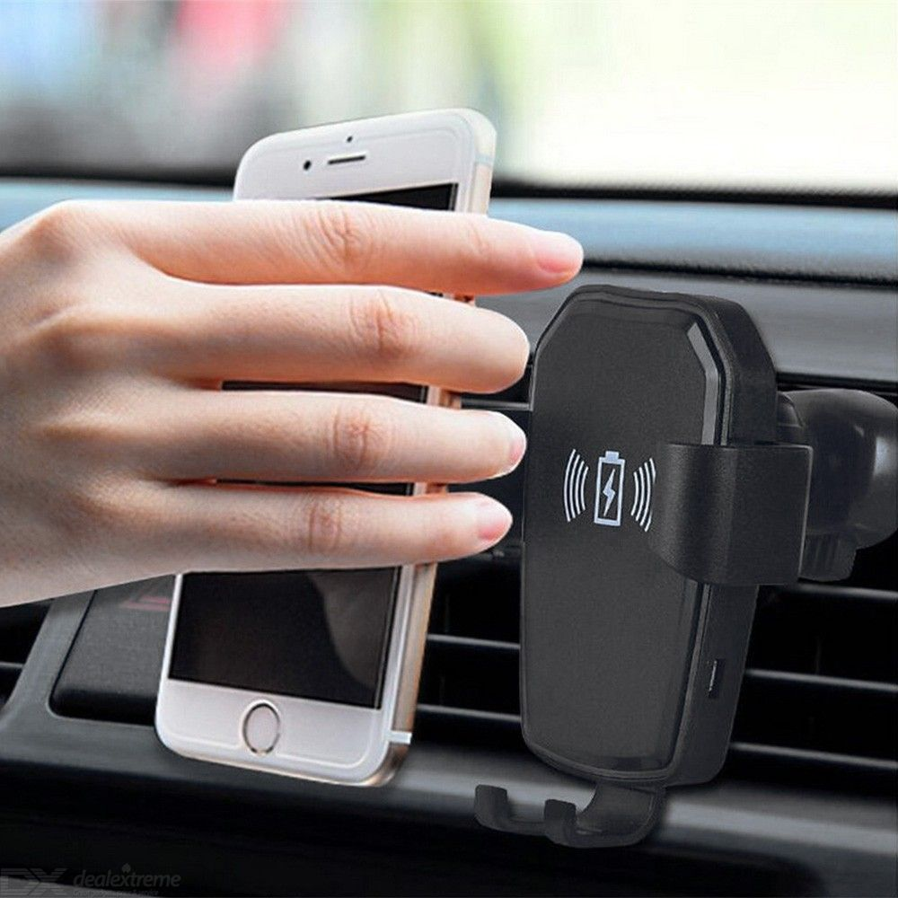 Universal Wireless Car Charger Mount Auto-Clamping Gravity Air Vent Phone Holder for iPhone / Samsung / Huawei