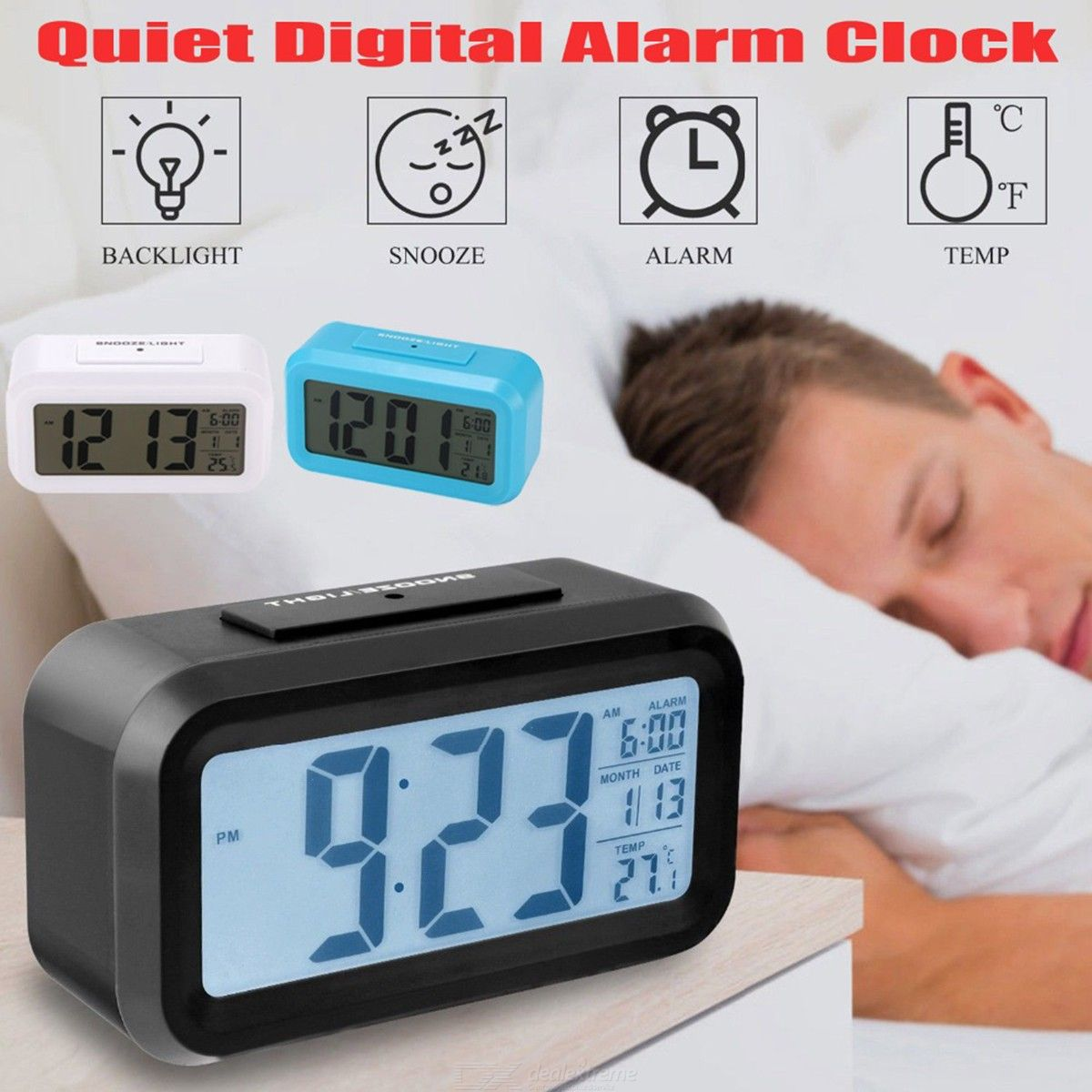 Dealextreme / Digital Alarm Clock Modern LCD Clock With Back Light Snooze Function