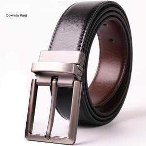 Mens Genuine Leather Belt Stretch Waist Belt With Single Prong Buckle