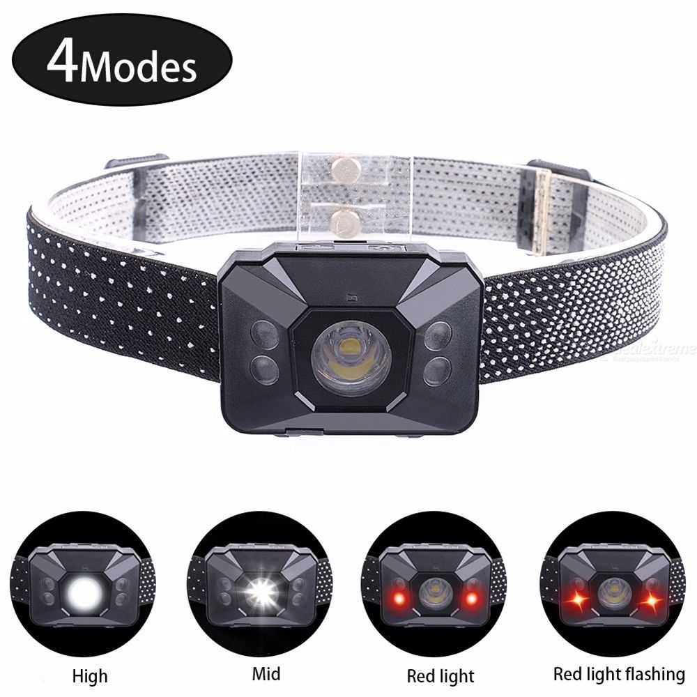 LED Headlight 300LM Waterproof White Red Headlamp With 4 Lighting Modes And Gesture Recogntion Function