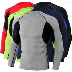 Men Compression Long Sleeve T shirt for Fitness Exercise Running Training