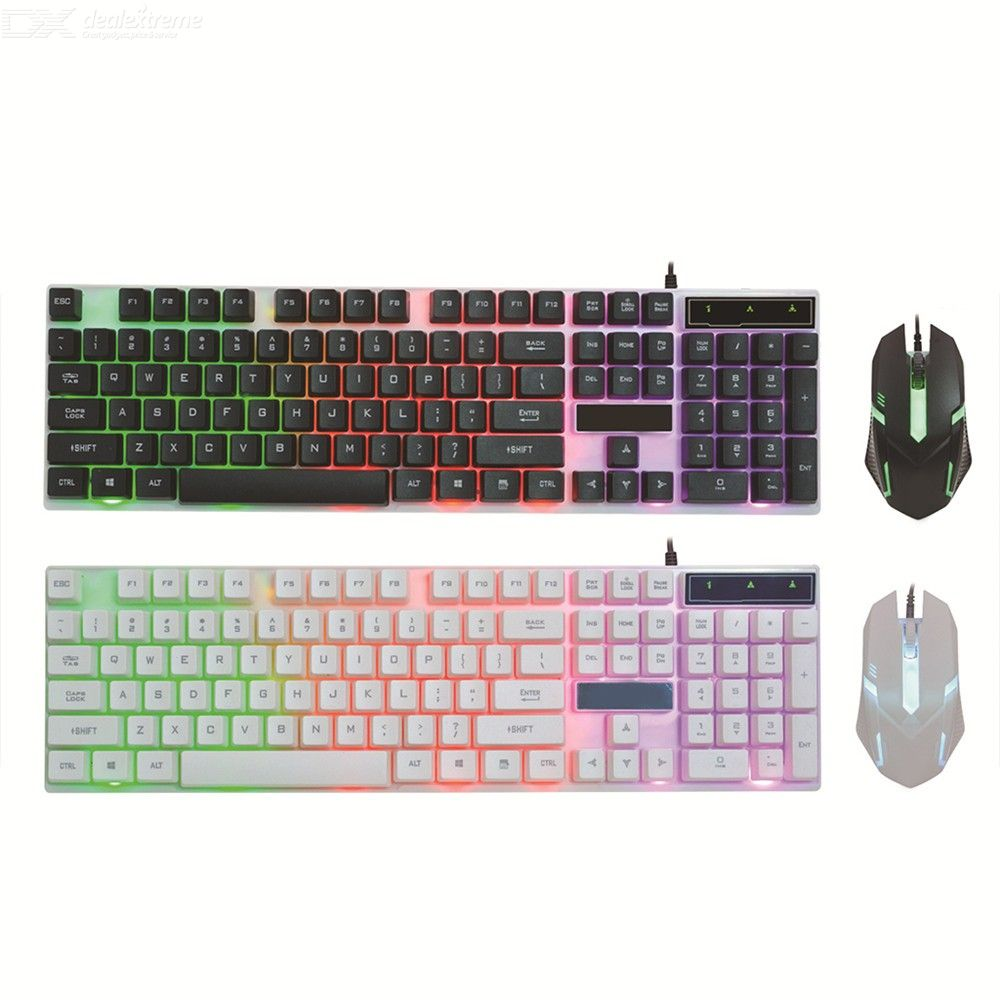 Wired USB PC Mechanical Feel Gaming Keyboard and Mouse Combo ,Colorful LED Backlight Set for Laptop Windows